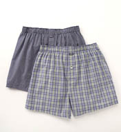 Michael Kors Woven Boxer in Blue Plaid & Square - 2 Pack 09M1037