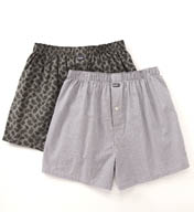 Michael Kors Woven Boxer in White Plaid/Grey Paisley - 2 Pack 09M1049